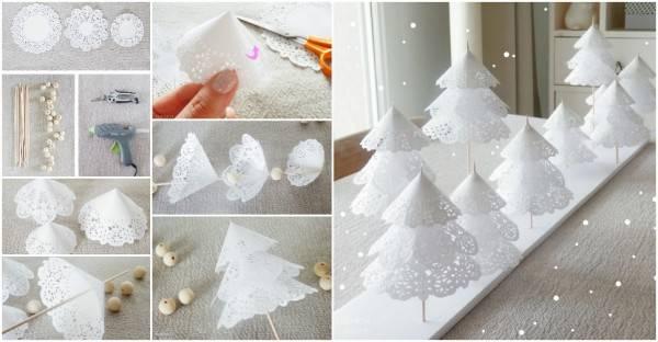 Creative Ideas Diy Pretty Paper Doily Christmas Trees