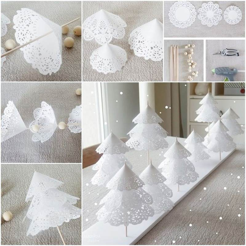 Creative Ideas - DIY Pretty Paper Doily Christmas Trees