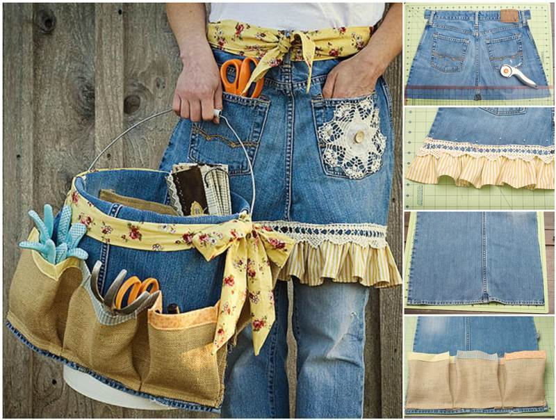 Creative Ideas - DIY Repurpose Old Jeans into Garden Apron ...