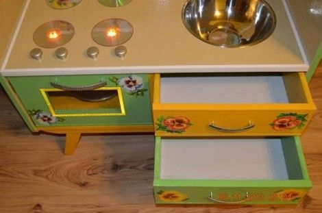 Creative Ideas - DIY Repurpose an Old Nightstand into a Play Kitchen 18