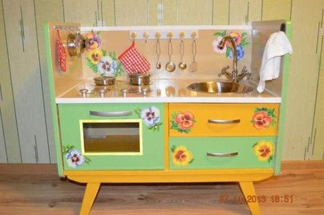 Creative Ideas - DIY Repurpose an Old Nightstand into a Play Kitchen 19
