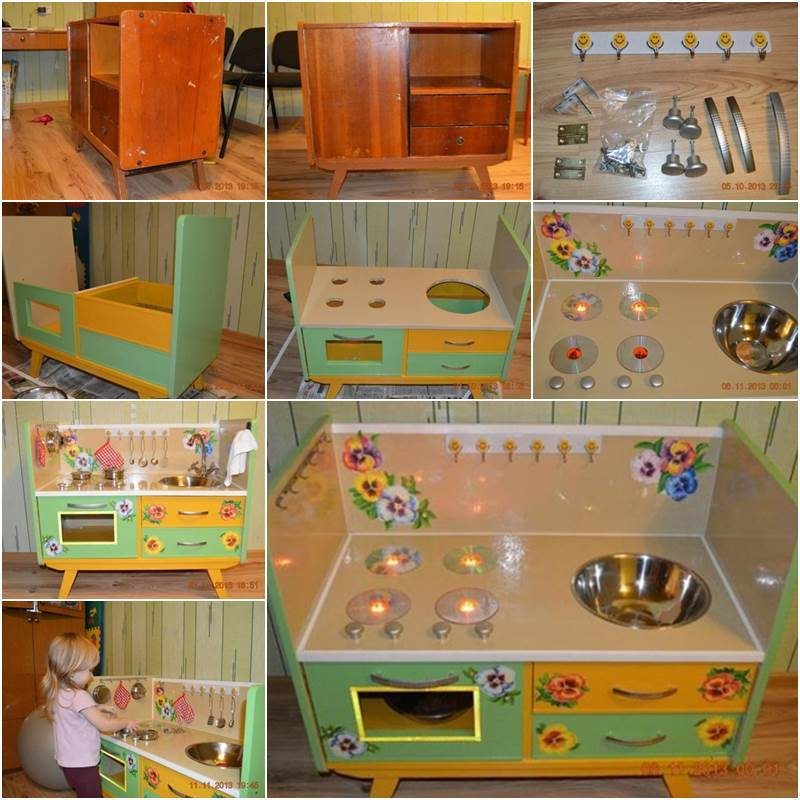 Creative Ideas - DIY Repurpose an Old Nightstand into a Play Kitchen