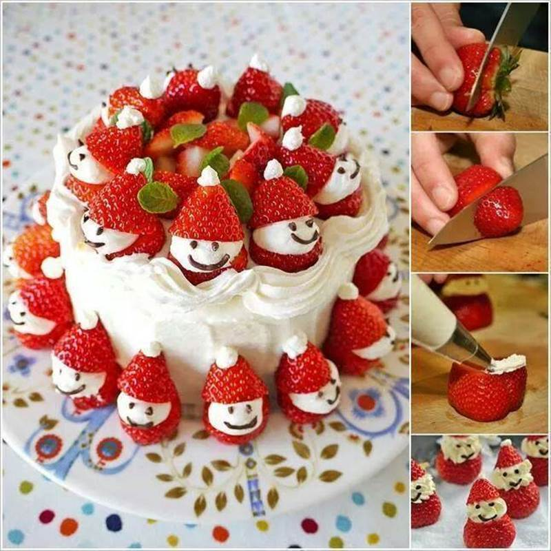 Creative Ideas - DIY Strawberry Santa Christmas Cake