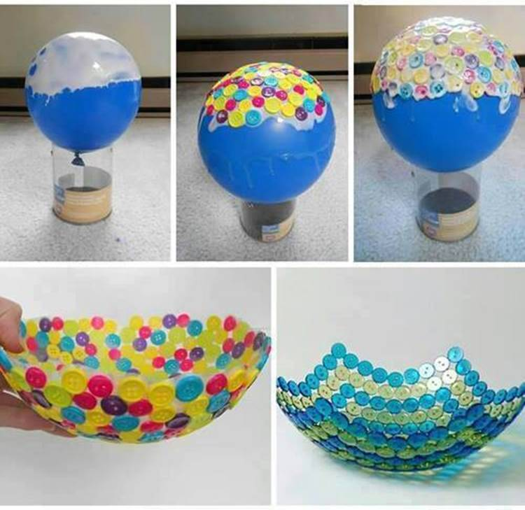 45+ Fun and Creative Ways to Use Balloons --> DIY Unique Button Bowl
