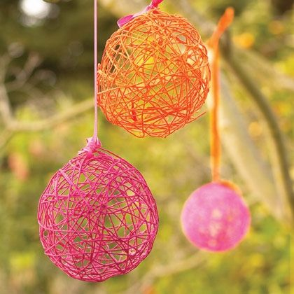 45+ Fun and Creative Ways to Use Balloons --> Yarn Eggs Easter Decors