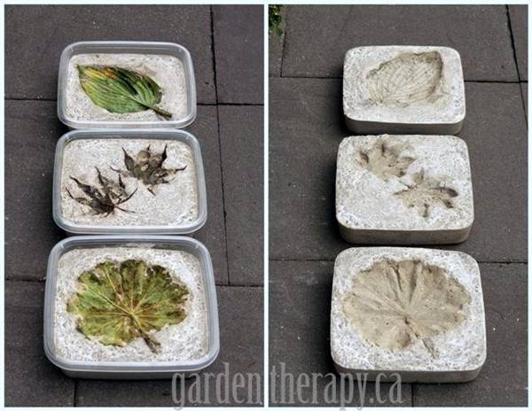 30 Beautiful DIY Stepping Stone Ideas to Decorate Your Garden --> Leaf Imprint Stepping Stones