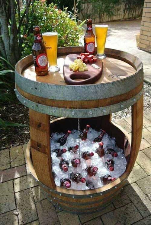 36+ Creative DIY Ideas to Upcycle Old Wine Barrels --> DIY Wine Barrel Cooler