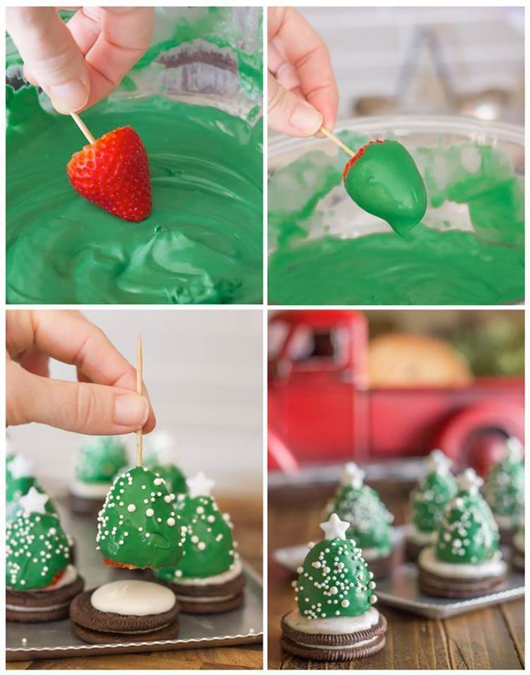 creative idea diy chocolate covered strawberry christmas trees - Christmas Chocolate Covered Strawberries