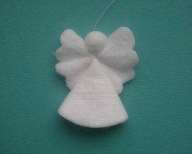 Creative Ideas – DIY Cotton Pad Angel Christmas Ornaments 4