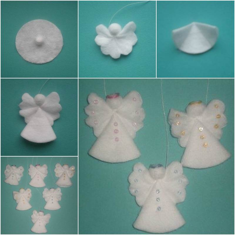 Creative Ideas Diy Cotton Pad Angel Christmas Ornaments