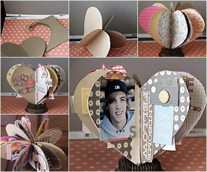 Creative Ideas Diy 3d Paper Heart Mini Album