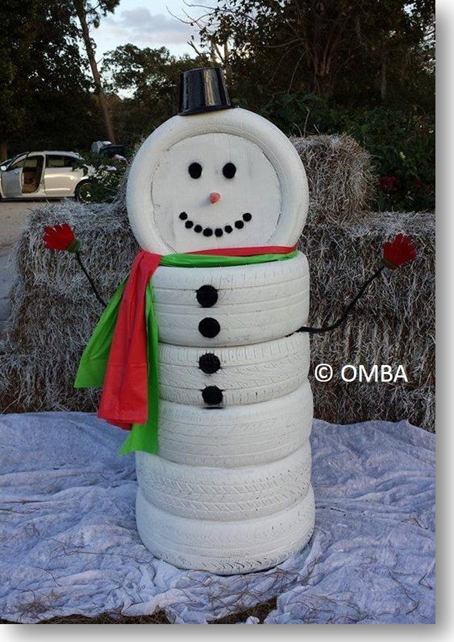 Creative Ideas - DIY Adorable Snowman Decor from Old Tires 1