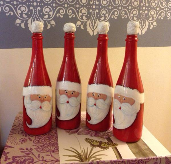 christmas hand painted santas wine bottle - How To Paint Glass Bottle