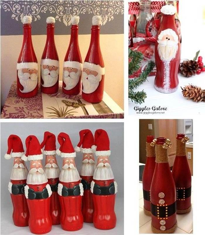 Creative Ideas - DIY Christmas Hand Painted Glass Bottle Santa