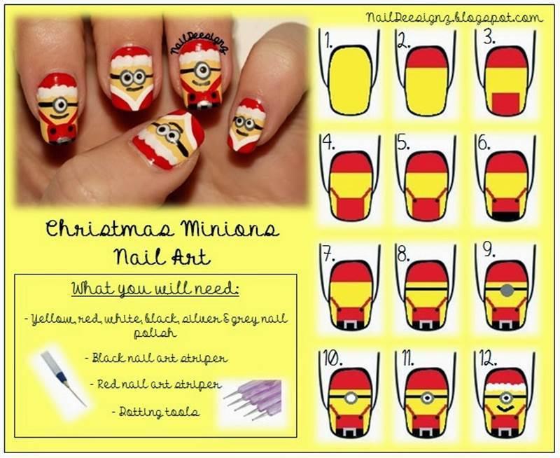 Creative Ideas Diy Cute Christmas Minion Nail Art