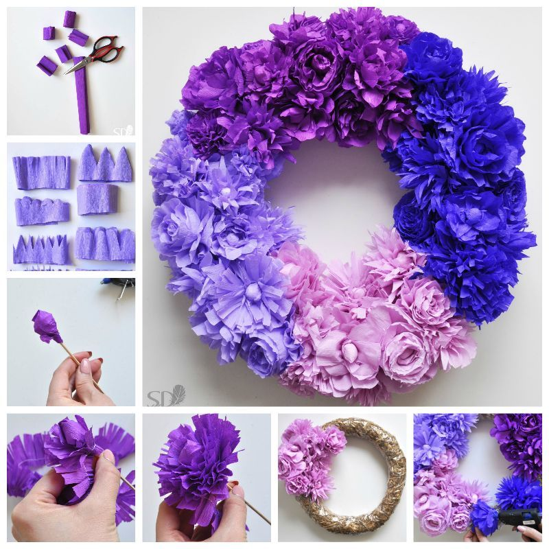 Creative ideas diy ombre crepe paper flower wreath mightylinksfo