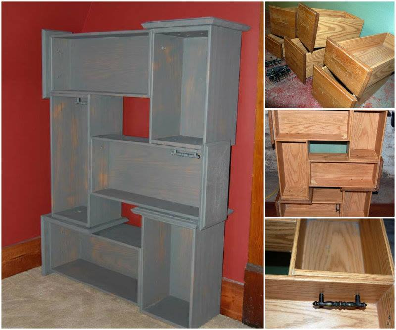 creative ideas diy repurpose old drawers into awesome shelving unit