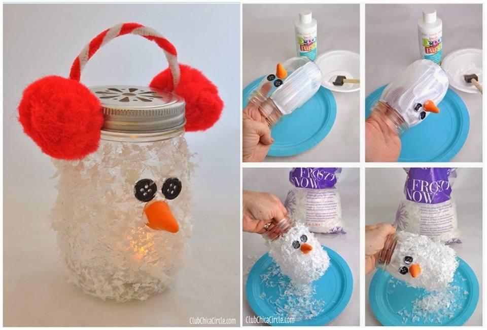 Creative Ideas - DIY Snowman Mason Jar Luminary Ornament