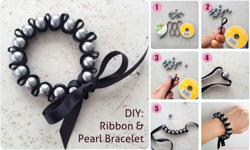 Creative Ideas - DIY Stylish Ribbon and Pearl Bracelet
