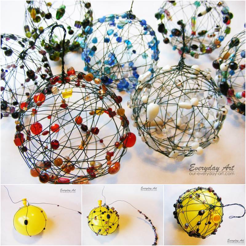 creative ideas diy wire and beaded ball ornaments