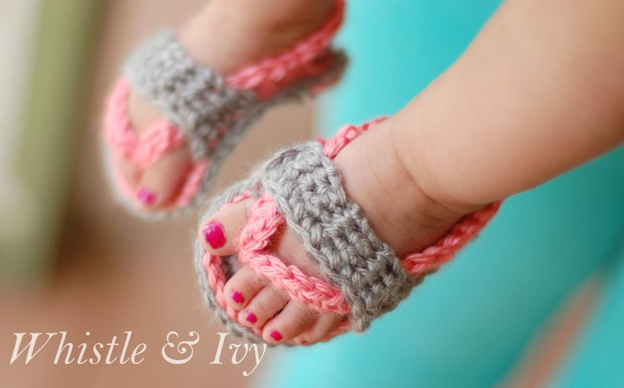 60+ Adorable and FREE Crochet Baby Sandals Patterns --> Crochet Baby Flip Flop Sandals