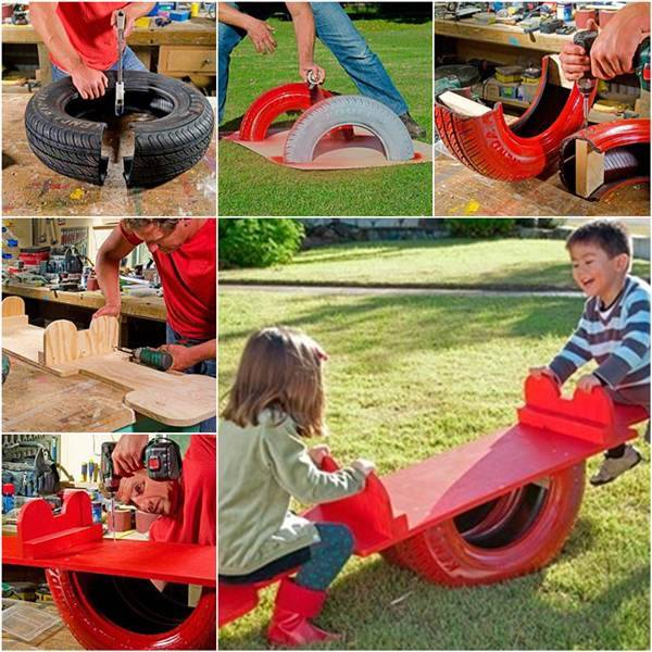 How to repurpose an old tire into a seesaw diy tutorial solutioingenieria