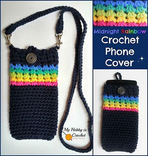 30 Stylish DIY Crochet Phone Cases --> Midnight Rainbow Crochet Phone Cover with Detachable Strap