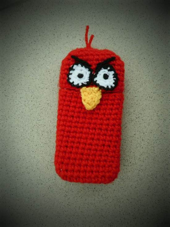 30 Stylish DIY Crochet Phone Cases --> Angry Bird Cell Phone Crochet Cozy