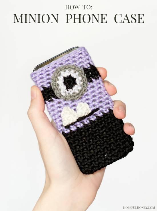 30 Stylish DIY Crochet Phone Cases --> Evil Minion Inspired Phone Case Crochet Pattern