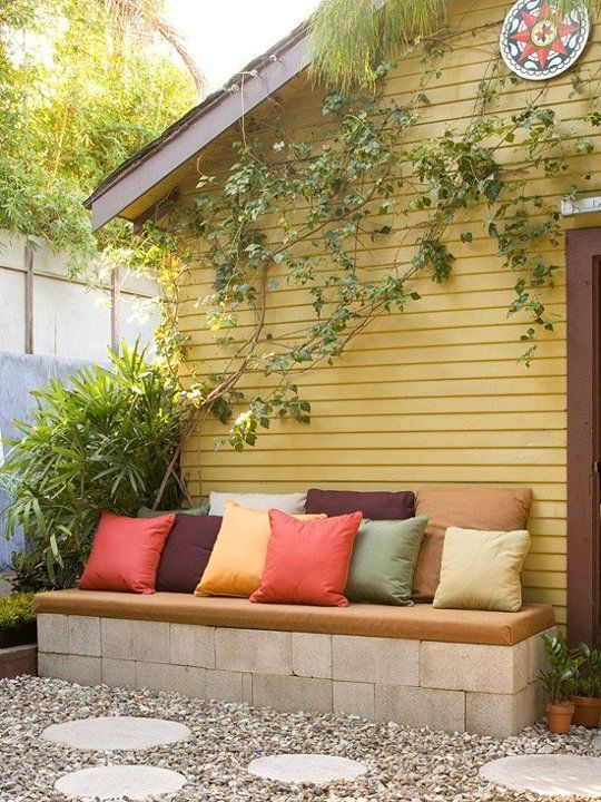 20+ Creative Uses of Concrete Blocks in Your Home and Garden --> Concrete Block Garden Bench