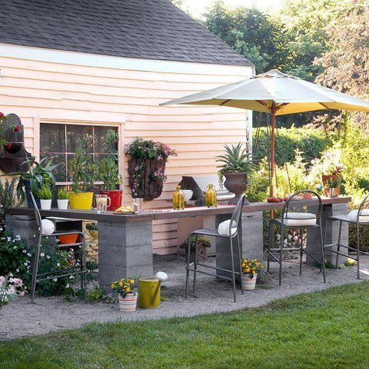 20+ Creative Uses of Concrete Blocks in Your Home and Garden --> Affordable Outdoor Kitchen