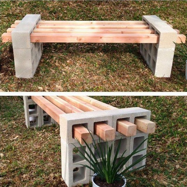 20+ Creative Uses of Concrete Blocks in Your Home and Garden --> DIY Cinder Block Bench