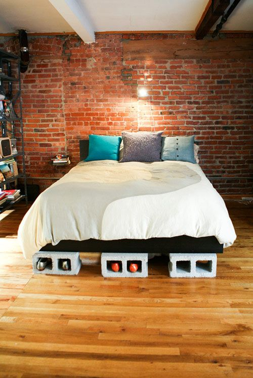 20+ Creative Uses of Concrete Blocks in Your Home and Garden --> Cinder block bed risers