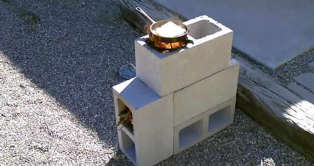 20+ Creative Uses of Concrete Blocks in Your Home and Garden --> DIY Cinder Block Rocket Stove