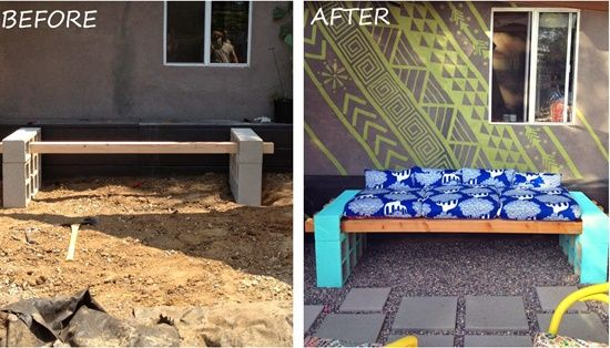 20+ Creative Uses of Concrete Blocks in Your Home and Garden --> DIY Outdoor Seating