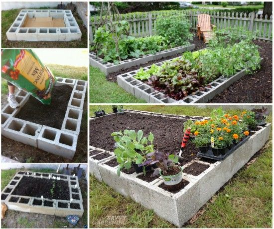 20+ Creative Uses of Concrete Blocks in Your Home and Garden --> Cinder Block Raised Garden Bed