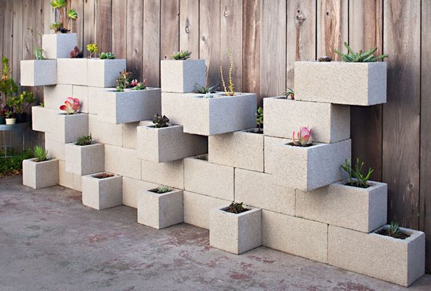 20+ Creative Uses of Concrete Blocks in Your Home and Garden --> Concrete Block Vertical Planters