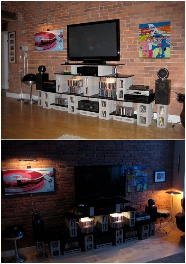 20+ Creative Uses of Concrete Blocks in Your Home and Garden --> A nice entertainment center