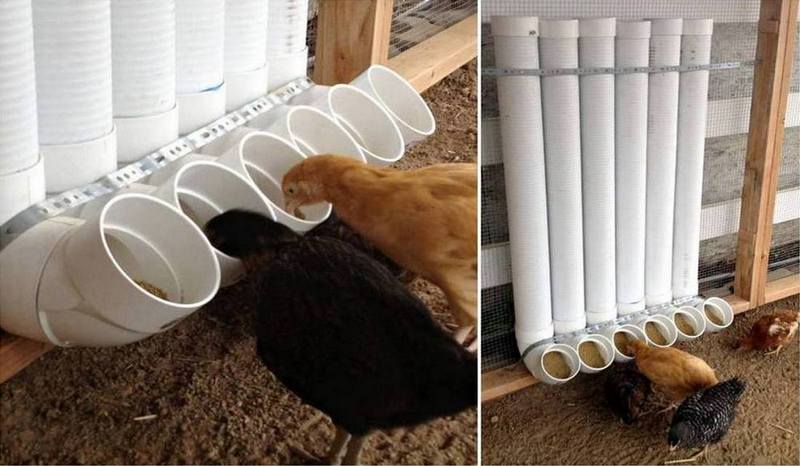 30+ Creative Uses of PVC Pipes in Your Home and Garden --> PVC Chicken Feeder