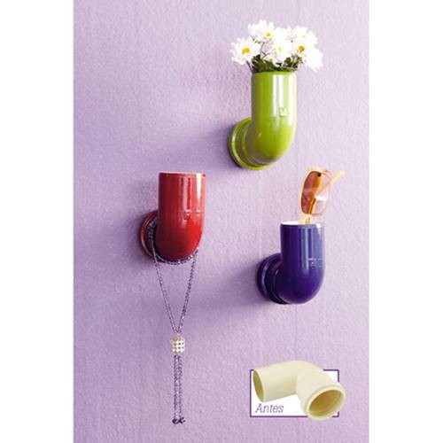 30+ Creative Uses of PVC Pipes in Your Home and Garden --> Repurpose PVC Pipe Elbows into Colorful Wall Hooks