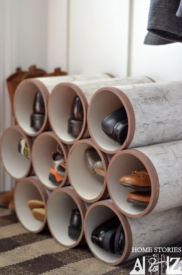 30+ Creative Uses of PVC Pipes in Your Home and Garden --> PVC Pipe Shoe Organizer