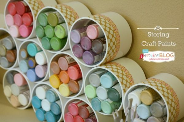 30+ Creative Uses of PVC Pipes in Your Home and Garden --> Craft Paint Storage with PVC Pipe