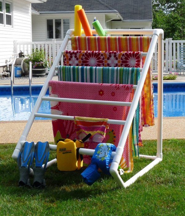 30+ Creative Uses of PVC Pipes in Your Home and Garden --> DIY PVC Pipe Drying Rack