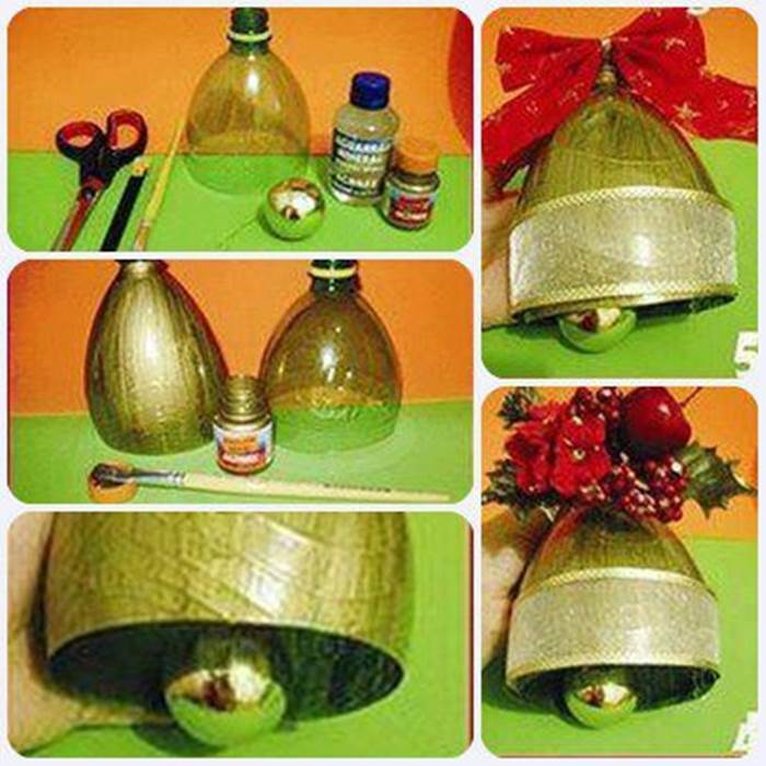 Creative ideas diy christmas bell ornament from plastic for Creative christmas ornaments homemade