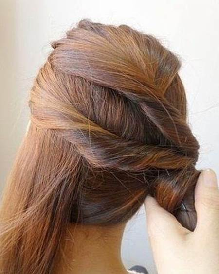 Creative Ideas - DIY Easy Twisted Side Ponytail Hairstyle 5
