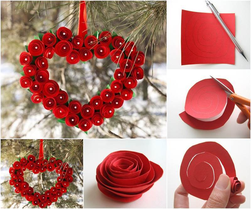 Creative Ideas - DIY Heart Shaped Paper Rose Valentine Wreath