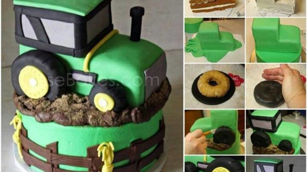 Superb Creative Ideas Diy John Deere Inspired Tractor Cake Funny Birthday Cards Online Overcheapnameinfo