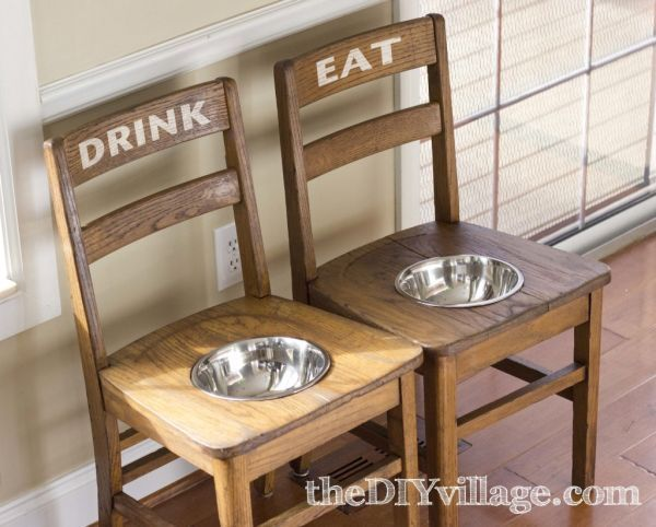 20+ Creative Ideas and DIY Projects to Repurpose Old Furniture --> DIY Dog Bowl Chairs As Elevated Feeding Station