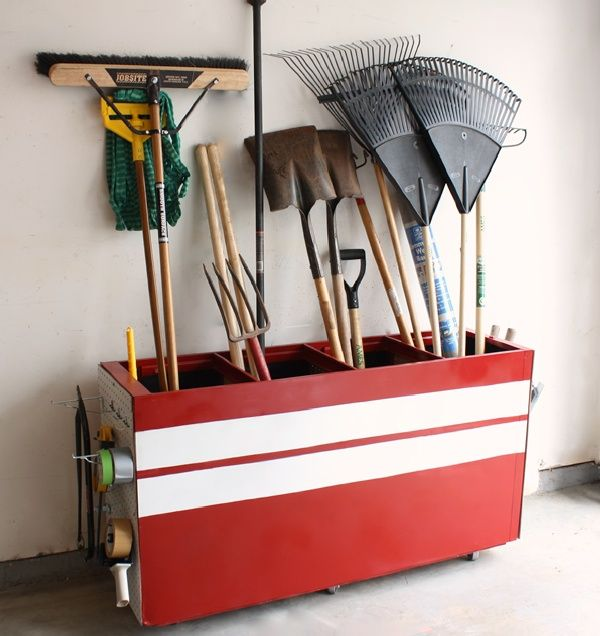 20+ Creative Ideas and DIY Projects to Repurpose Old Furniture --> Old File Cabinet Turned Into A Garage Storage Unit