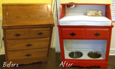 20+ Creative Ideas and DIY Projects to Repurpose Old Furniture --> Repurpose an Old Desk into a Pet Station
